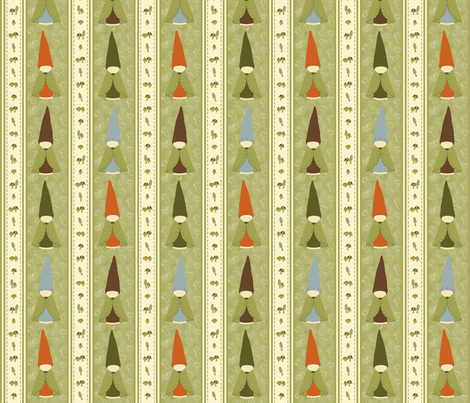 Gnome Stripes fabric by weefolkart on Spoonflower - custom fabric