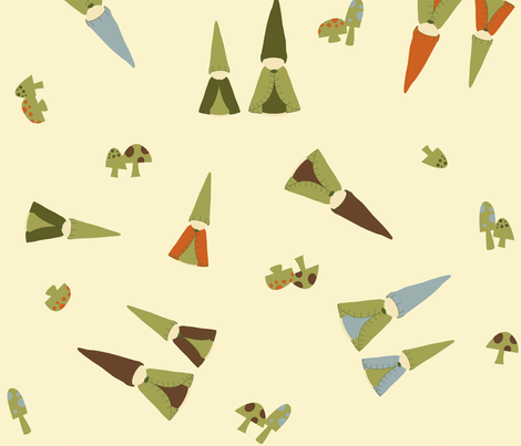 Large Tumbling Peg Gnomes fabric by weefolkart on Spoonflower - custom fabric