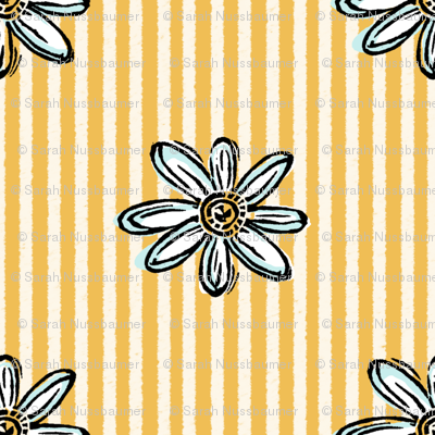Wood Block Daisy Yellow and White Stripe