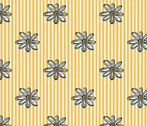Wood Block Daisy Yellow and White Stripe fabric by snuss on Spoonflower - custom fabric
