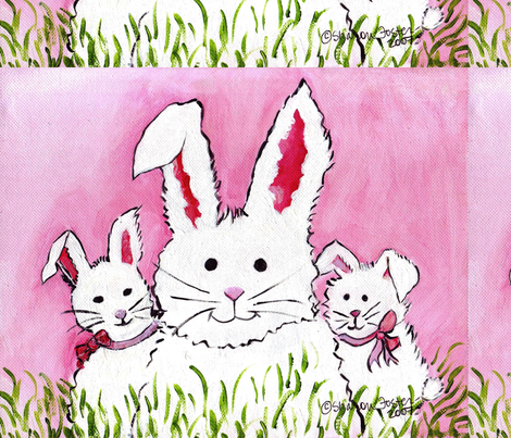 3 Bunny Famly fabric by sharonfosterart on Spoonflower - custom fabric