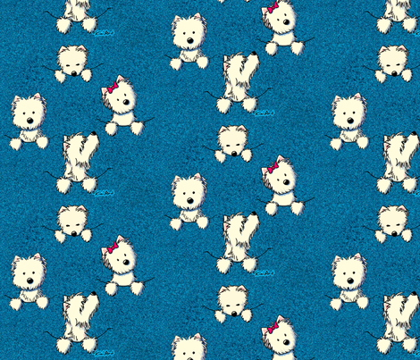 Westie Pocket Full O' Poses (blue) fabric by kiniart on Spoonflower - custom fabric