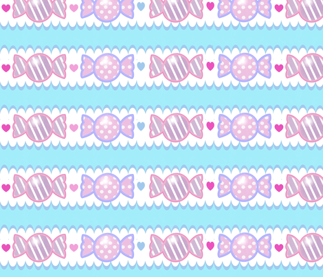 Unicorn Fantasy Candy Border Pastel Blue fabric by pinkmacaroon on Spoonflower - custom fabric