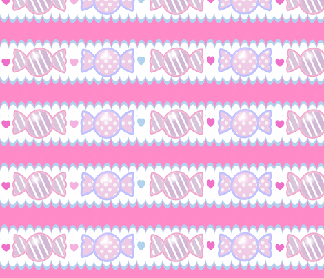 Unicorn Fantasy Candy Border Magenta  fabric by pinkmacaroon on Spoonflower - custom fabric