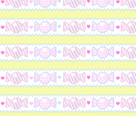 Unicorn Fantasy Candy Border Pastel Yellow fabric by pinkmacaroon on Spoonflower - custom fabric