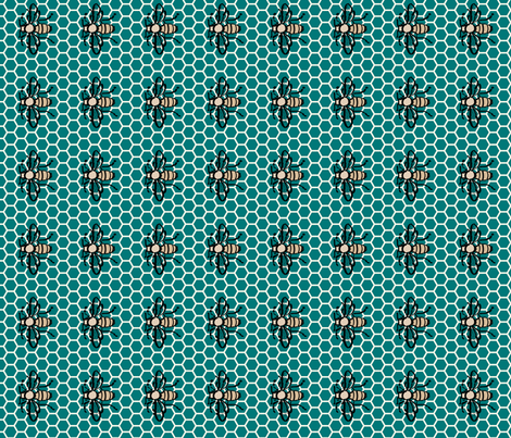 Honeybee-honeycomb-green fabric by mina on Spoonflower - custom fabric