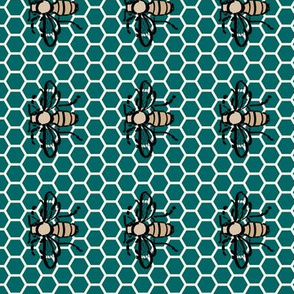 Honeybee-honeycomb-green