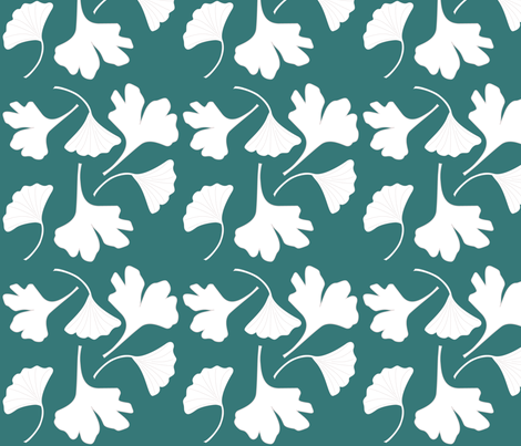 GINGKO-fabric-wht-GRN fabric by mina on Spoonflower - custom fabric