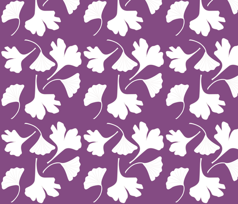 GINGKO-fabric--wht-PUR fabric by mina on Spoonflower - custom fabric
