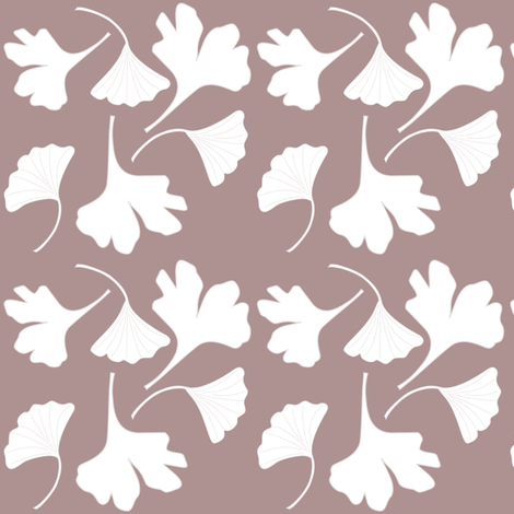 GINGKO-fabric-wht-BRN fabric by mina on Spoonflower - custom fabric