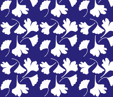 GINGKO-fabric-wht-DKBL fabric by mina on Spoonflower - custom fabric