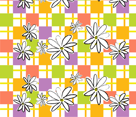 Daisy Stripes & Checks fabric by sarah_nussbaumer on Spoonflower - custom fabric