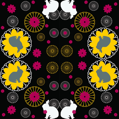 Rabbit Mandalas Black fabric by luhaddad on Spoonflower - custom fabric