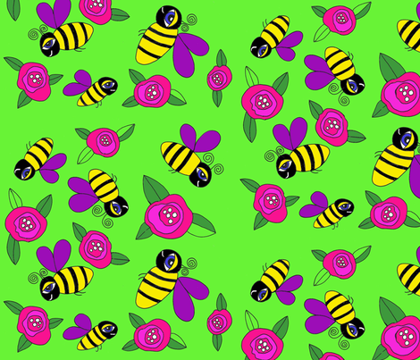 Bumblebees in Paradise fabric by ephemeralalchemy on Spoonflower - custom fabric