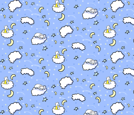 Good Night Westies IV fabric by kiniart on Spoonflower - custom fabric