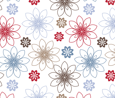 stylized flowers fabric by suziedesign on Spoonflower - custom fabric