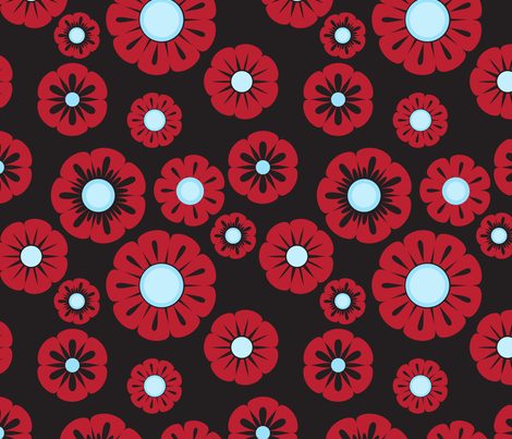 retro red blue flowers fabric by suziedesign on Spoonflower - custom fabric