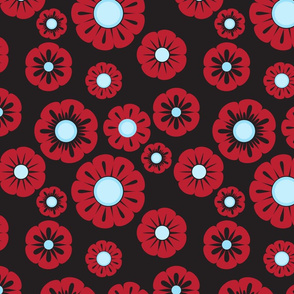 retro red blue flowers