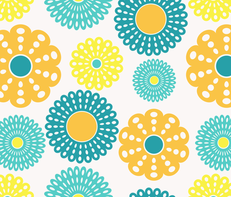 yellow and blue flowers fabric by suziedesign on Spoonflower - custom fabric