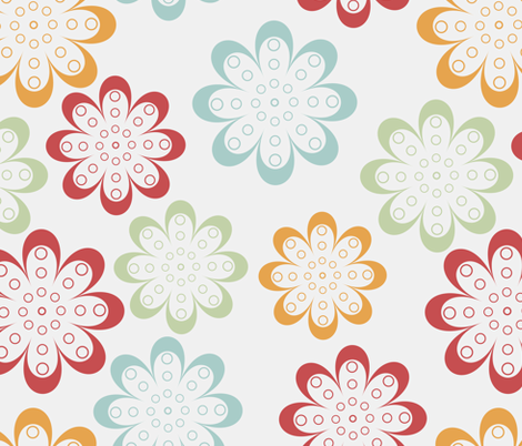 line flowers fabric by suziedesign on Spoonflower - custom fabric