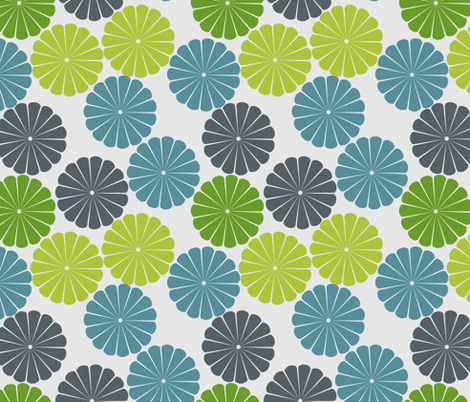 green and blue flowers fabric by suziedesign on Spoonflower - custom fabric