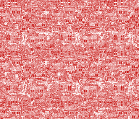 Little Neighborhood Red fabric by natalie on Spoonflower - custom fabric