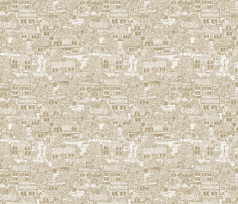 Little Neighborhood Tan fabric by natalie on Spoonflower - custom fabric