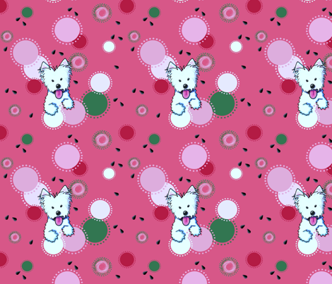 Watermelon Westie fabric by kiniart on Spoonflower - custom fabric