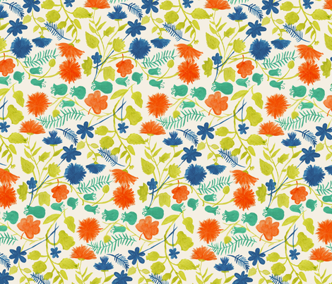 Painted Floral fabric by paper_pie on Spoonflower - custom fabric