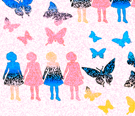 Paper dolls and Butterflies 2 fabric by designerchik on Spoonflower - custom fabric