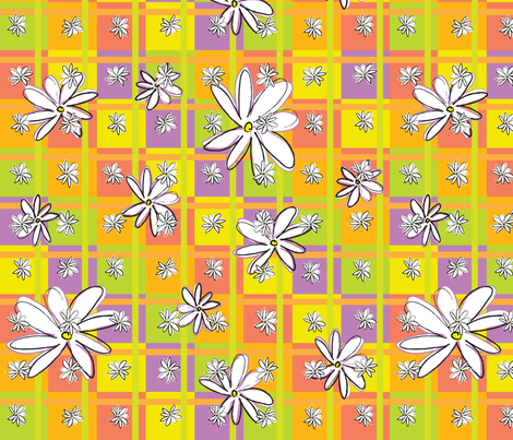 Dasies and Squares fabric by sarah_nussbaumer on Spoonflower - custom fabric