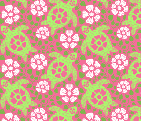 Hawaiian Turtles and Flowers in Greens and Pink