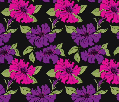 Magenta and Purple Petunias fabric by dragonfly on Spoonflower - custom fabric