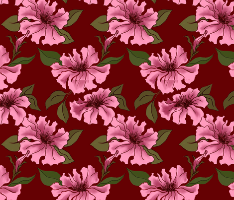 Rosey Petunias fabric by dragonfly on Spoonflower - custom fabric