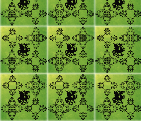 griffon on green fabric by jeallen on Spoonflower - custom fabric