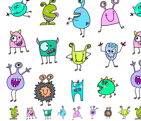 monsters fabric by stefanie_vh on Spoonflower - custom fabric