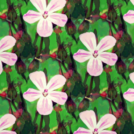 Tiny cranesbill pink & green fabric by vib on Spoonflower - custom fabric