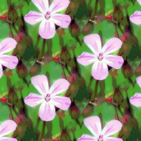 Tiny cranesbill pink & green fabric by vib on Spoonflower - custom fabric