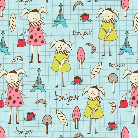 Bonjour Lapin - French Bunnies - Blue Regular Scale fabric by heatherdutton on Spoonflower - custom fabric