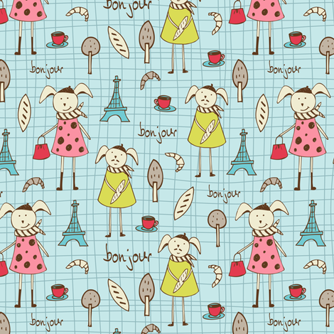 Bonjour Lapin fabric by heatherdutton on Spoonflower - custom fabric