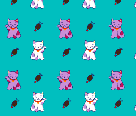 turquoise neko fabric by smallstitch on Spoonflower - custom fabric