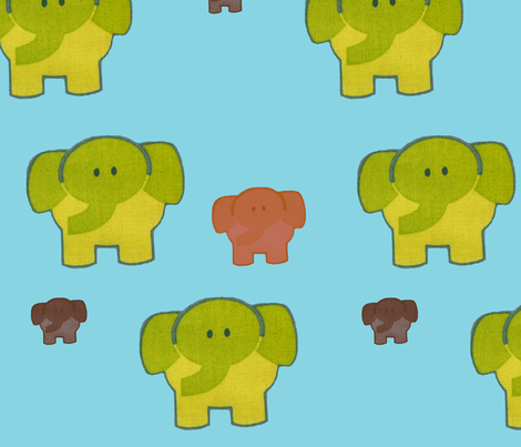 elephants_blue fabric by snork on Spoonflower - custom fabric