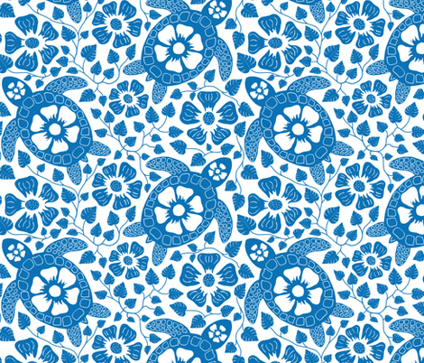 Hawaiian Turtles and Flowers in Indigo