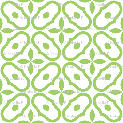 Mosaic - White and Leaf Green