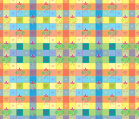 Rainbowgingham fabric by leslipepper on Spoonflower - custom fabric