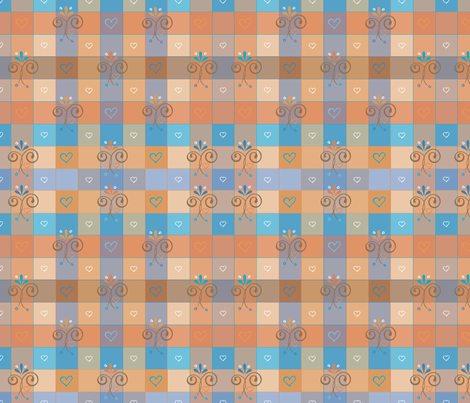 blue-orangegingham fabric by leslipepper on Spoonflower - custom fabric