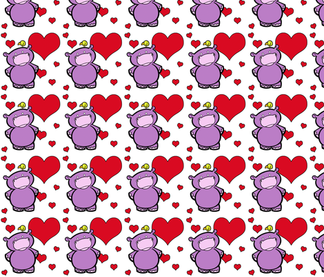 I Heart Hippos fabric by ljonte on Spoonflower - custom fabric