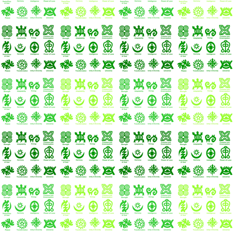 Adinkra Fades-Green-005 fabric by kkitwana on Spoonflower - custom fabric