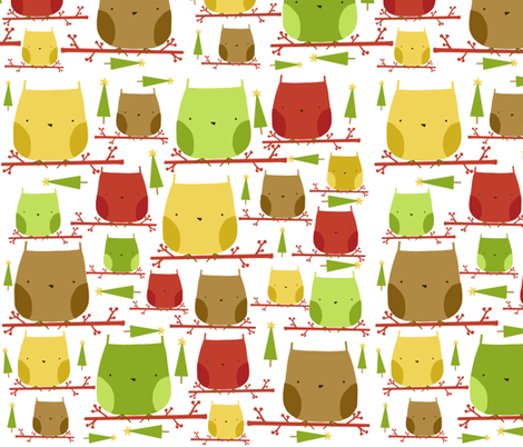 christmas owls fabric by emilyb123 on Spoonflower - custom fabric