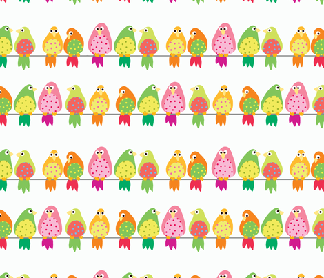 Birds on a wire fabric by yvonne_herbst on Spoonflower - custom fabric